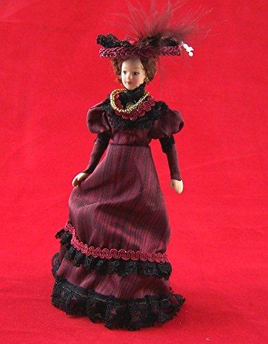 Dame Lady mit Hut elegant Puppe für die Puppenstube Miniatur 1:12