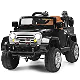 Costzon Ride On Car, 12V Battery Powered Car w/2 Motors, Parental Remote Control, Open Doors, Lights, MP3, Music, Horn, Spring Suspension, High/Low Speed, Electric Ride On Truck for Kids (Black)