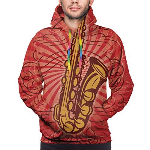 Moshow Sudadera con Capucha para Hombre Cartel Promocional Retro para el Concierto de Jazz con Sudadera de saxofón 3XL