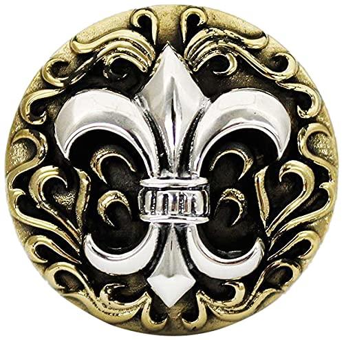 コンチョ シルバー925 ネジ式 パーツ ボタン カスタム 百合の紋章 フレア アラベスク 唐草 ブラス