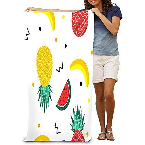 Jesse Tobias Bade-Tuch-bunter Sommer mit Frucht-Bananen-Wassermelone und geometrischen Elementen in Memphis Beach Towel