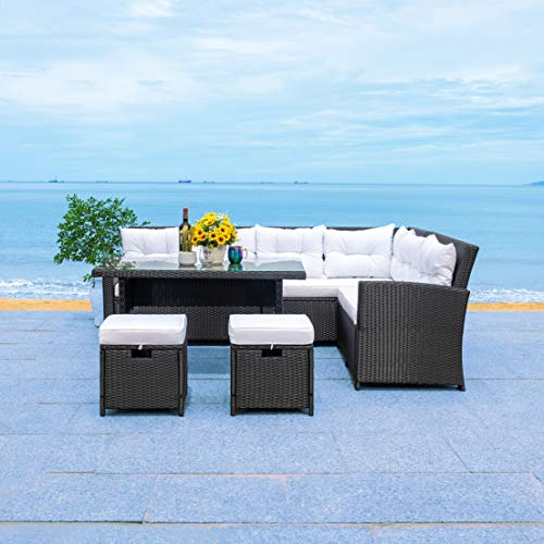 Safavieh Outdoor Collection Miki Wicker Living Set PAT7708A-4BX, Black/White Cushion