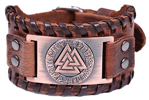 Vintage Amulett Nordic Runes Odins Symbol der Krieger Valknut Charm Brown Belt Buckle Armband für...