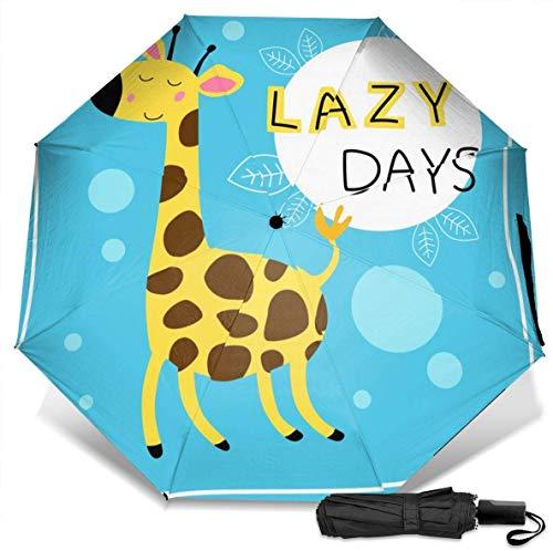 Paraguas de viaje a prueba de viento protección UV (lindo animal de dibujos animados con jirafa)