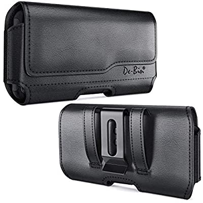 DeBin iPhone 11 Pro/iPhone 10 / X/Xs Belt Holster, Premium Leather Holster Pouch Case with Belt Clip Belt Holder Cover for Apple iPhone 11 Pro / 10 / X/Xs (Fits Phone w/Otterbox Case on) Black