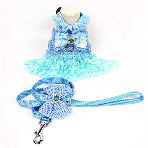 MISS PET Fashion Dog Dress Harness Vest Coat Winter Dog Clothes Cat Puppy Clothing Costume Summer Dress with Leash