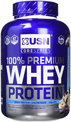 USN 100 Percent Premium Whey Protein Shake Powder, Cookies/Cream, 2.28 kg