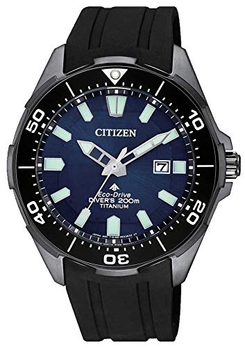 Citizen Herren-Armbanduhr Promaster Diver Eco Drive, Super Titan, Schwarz, BN0205-10L, wasserdicht bis 200 m