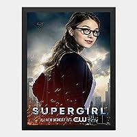 ハンギングペインティング - スーパーガール Super Girl メリッサブノワ 7のポスター 黒フォトフレーム、ファッション絵画、壁飾り、家族壁画装飾 サイズ:33x24cm(額縁を送る)
