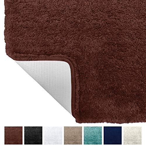 Gorilla Grip Original Premium Luxury Bath Rug, 24x17 Inch, Extra Soft, Absorbent Faux Chinchilla Bathroom Plush Mat Rugs, Machine Wash and Dry, Carpet Mats for Bath Room, Shower, Hot Tub, Navy Blue