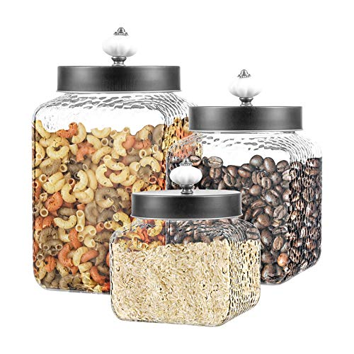 Style Setter Square Canister Set 3-Piece Glass Jars in 43, 64 and 75 ounces Chic Retro Design with Airtight Stainless Steel Lids for Cookies, Candy, Hammered