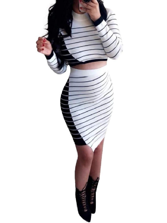 VITryst 女性高ウエストボディコンストリップセクシーロングスリーブスカートスーツ