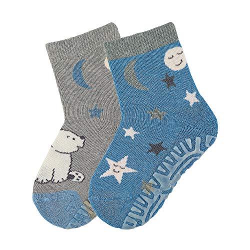 Sterntaler Fli Fli AIR DP Eisbär/Sterne, Baby - Jungen Socken, 2er Pack, Mehrfarbig (Bleu/Gris), 27 - 28 EU