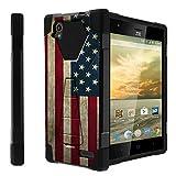 Untouchble Case for ZTE Warp Elite, N9518 Case [Traveler Series]- Dual Layer Hard Plastic Inner Silicone Stand Case - Vintage American Flag