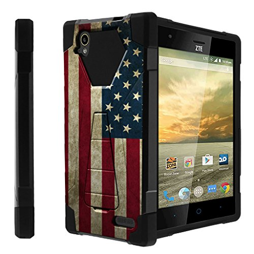 Untouchble Compatible with ZTE Warp Elite, N9518 Case [Traveler Series]- Dual Layer Hard Plastic Inner Silicone Stand Case - Vintage American Flag