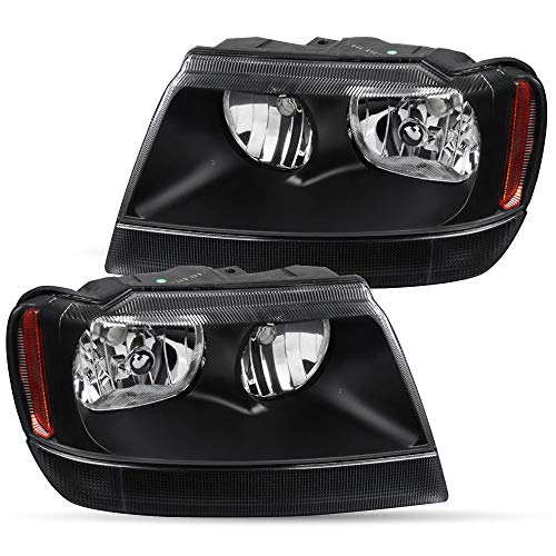 Headlight Assembly Set Replacement for 1999-2004 Jeep Grand Cherokee Headlamp Driver and Passenger Side Front Lights Pair (Black)