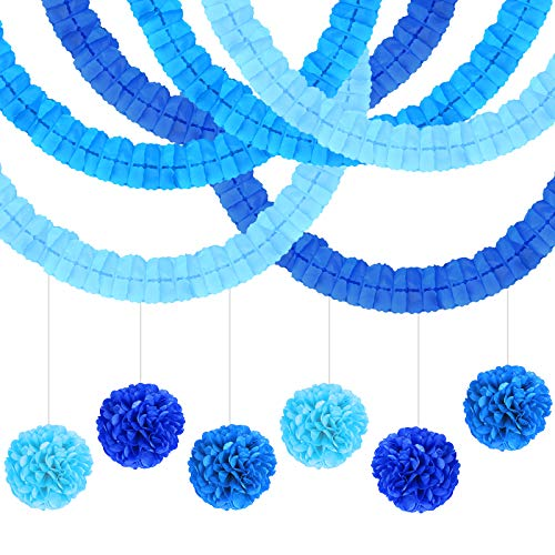 LAMEK Blue Tissue Paper Pompoms Hanging Garland with Four-Leaf Tissue Paper Flower Garland for Wedding Party Birthday Anniversary Theme Decoration