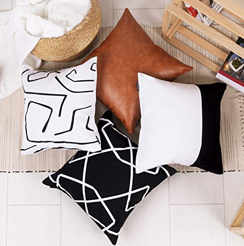 ILConcepts Fundas de almohada decorativas de 18 x 18 pulgadas, para sofá, sofá o cama, 3 fundas de almohada de 100% algodón y funda de piel sintética de lujo