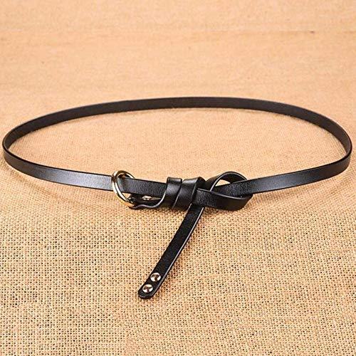 HJFDEW Cinturón de señora Estilos de Ocio Simples Suéteres Vestidos Decorativos Cinturón de Cuero Femenino con Nudos Finos, Negro, 105 cm Debajo de 31 Pulgadas