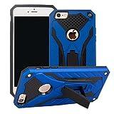 MILAN NICE Funda para iPhone 6 Plus/6S Plus de Silicona y PC Antigolpes Carcasa Protectora Anti-arañazos y Antideslizante con Soporte Incoporado (Azul)