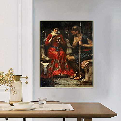 Kit de pintura por números para adultos, William Waterhouse, Jason y Medea, pintura por números, kits de pintura en lienzo
