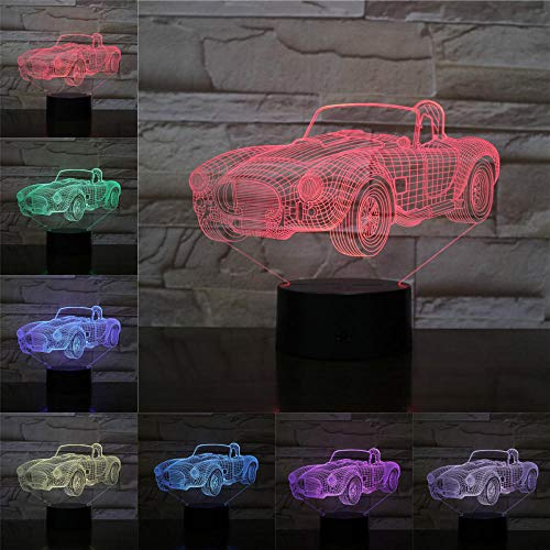 Holographic Projection 3D Night Light Convertible Cabriolet 3D Lamp Table Lights Best Gifts for Car Fans Kids Friends Led Lighting 3 AA Batteries Flash