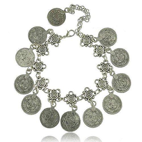 Idealway, braccialetto o cavigliera regolabile, fatto a mano, con design floreale, etnico e tribale turco, con monete, in argento