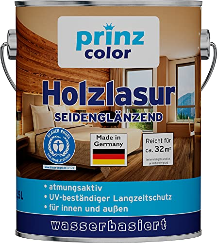 prinzcolor Premium Holzlasur Holzschutzlasur Holzschutz Weiß 2,5l