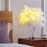 Shulan Shop Kitchen 寝室のベッドサイドランプテーブルランプホワイトピンクフェザーランプ調光夜光
