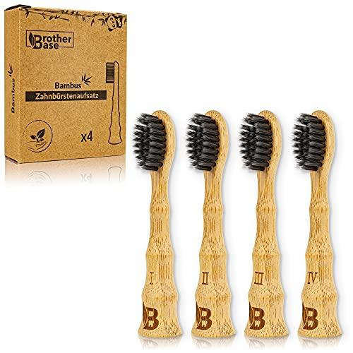 Brotherbase Bambus Zahnbürstenaufsatz für die elektrische Zahnbürste mit Bambus-Aktivkohle Borsten – Vegan, nachhaltig & BPA-frei - Kompatibel mit allen Philips Sonicare Modellen – 4er Set