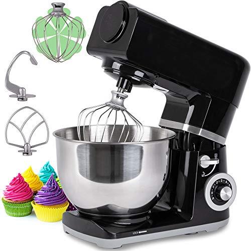 Küchenmaschine 5 L Knetmaschine Teigmaschine Rührmaschine Planetenrührwerk, Rührbesen, Knethaken, Schlagbesen und Spritzschutz, 6 Geschwindigkeit Teigmaschine, 1000W, einfach zu bedienen