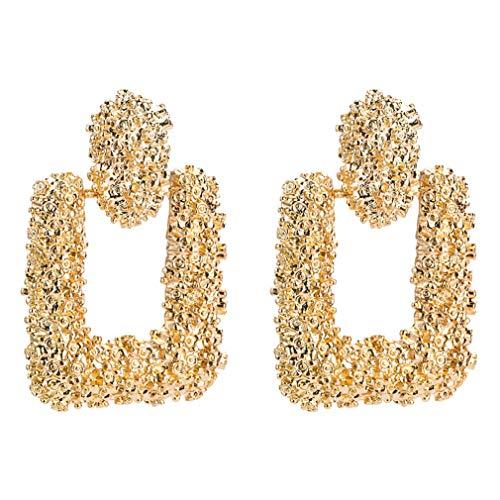 QiXuan Women Bohemian 14K Silver Plated Earrings Irregular Ridge Dangle Drop Earrrings(Gold)