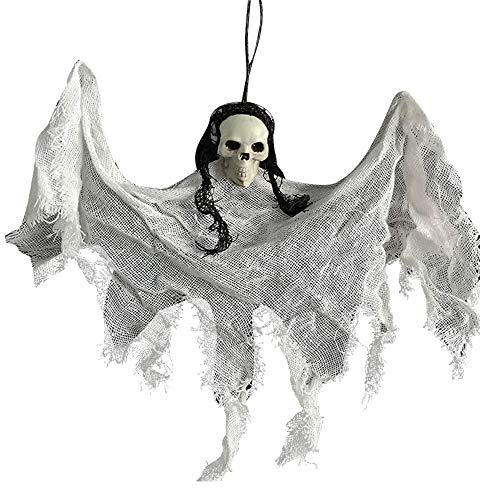 SDERS Halloween Dekorationen Horror Hanging Taro Kleiner hängender Geist, Halloween Flying Ghosts Gruselige Requisiten für Partydekorationen Hexen Schädelfledermäuse (Grau)
