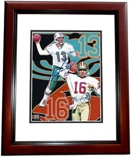 Dan Marino and Joe Montana DUAL Signed - Autographed 8x10 inch Photo MAHOGANY CUSTOM FRAME - Miami Dolphins - San Francisco 49ers