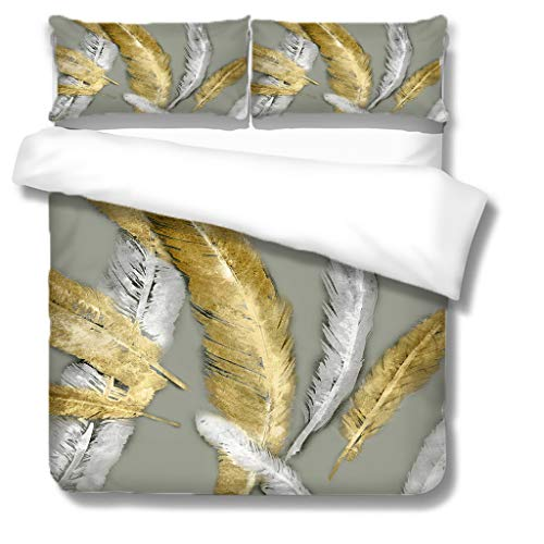 Generic Branded Duvet Covers 55x79 inch 3D print Feather 100% super soft microfiber easy Care Anti-Allergic Soft Smooth all-season Bedding With Pillowcases -(2x20x30 inch) for fashion Home Decoration