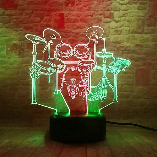 Instrumento musical Tambor 3D Lámpara de ilusión LED Luz nocturna Mesita de noche óptica Luces nocturnas 16 Cambio de color Botón táctil Decoración Lámparas de escritorio,