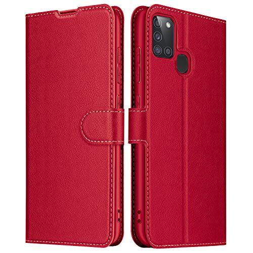 ELESNOW Hülle für Samsung Galaxy A21s, Leder Klappbar Wallet Schutzhülle Tasche Handyhülle mit [ Magnetisch, Kartenfach, Standfunktion ] für Samsung Galaxy A21s (Rot)