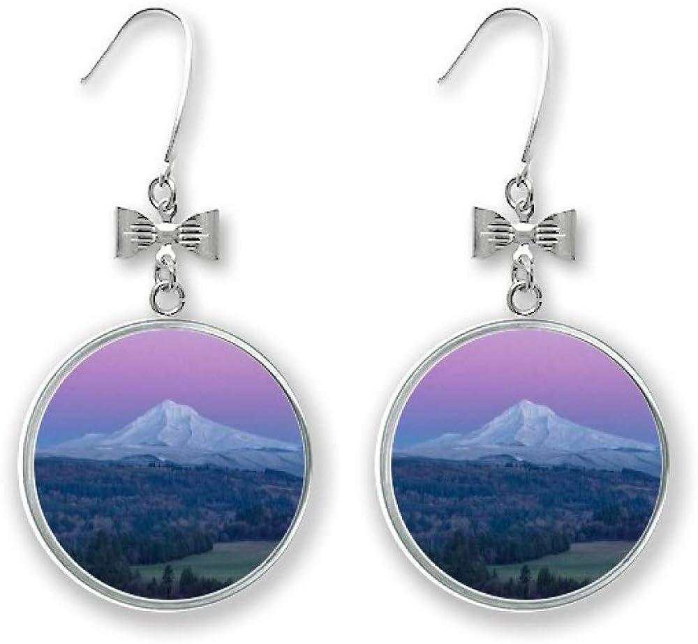 White Mountain Purple Blue Sky Bow Ho Earrings Pierced Opening large release sale Drop Oakland Mall Stud