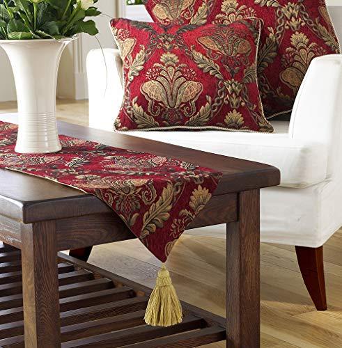 Shiraz Camino de mesa – Borgoña rojo y dorado – Jacquard damasco bordado – Forro antideslizante – Borlas – 100% poliéster – 33 x 230 cm – Fabricado por Riva Paoletti – Diseñado en el Reino Unido