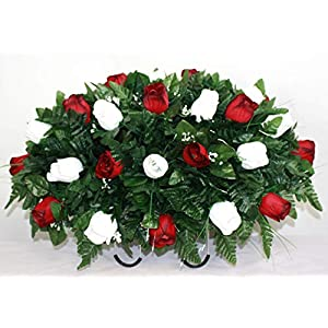 XL Red and White Roses Artificial Silk Flower Cemetery Tombstone Grave Saddle