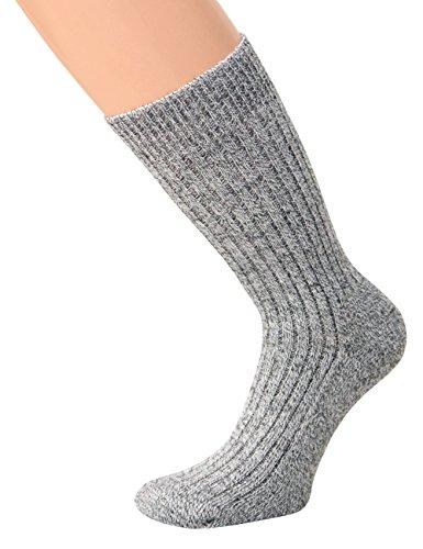 kb-Socken Norwegersocken Wolle NEUHEIT BLAUMELANGE mit Frotteesohle dicke schwere Ware 1, 3 oder 5 Paar (43-46, Grau ohne Gummi)