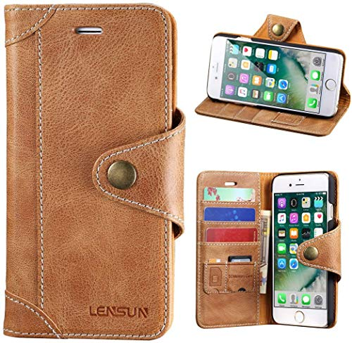 "Lensun Cover iPhone SE 2020, Cover iPhone 7, Cover iPhone 8, Vera Pelle Cuoio Custodia Genuino Annata a Portafoglio con Chiusura Magnetico per iPhone 7 e iPhone 8 4.7"" – Marrone (7G-GT-BN)"