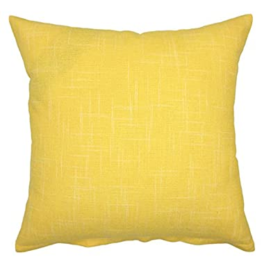 YOUR SMILE Pure Yellow Square Decorative Throw Pillows Case Cushion Covers Shell Cotton Linen Blend 18 X 18 Inches