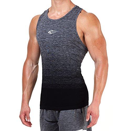 SMILODOX Stringer Herren | Seamless - Muskelshirt mit Aufdruck für Sport Gym Fitness & Bodybuilding | Muscle Shirt - Tank Top - Achselshirt - Trainingshirt Kurzarm, Größe:L, Farbe:Anthrazit/Schwarz