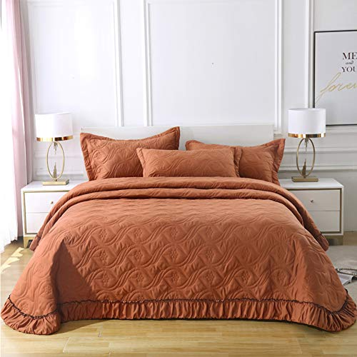RNNTK Modern Decorative Quilted Quilt, Ultra-Soft Cotton Bedspread One Piece,for All Season Bedroom Decor Solid Color Reversible Bed Cover Queen Size-Brown 245x275cm(96x108inch)