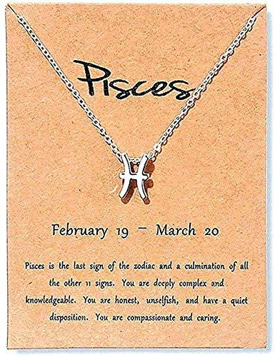 TTDAltd Collar Collar Vintage Escorpio Aries Virgo Joyería 12 Constelación Collares Pendientes para Mujer Regalo de cumpleaños