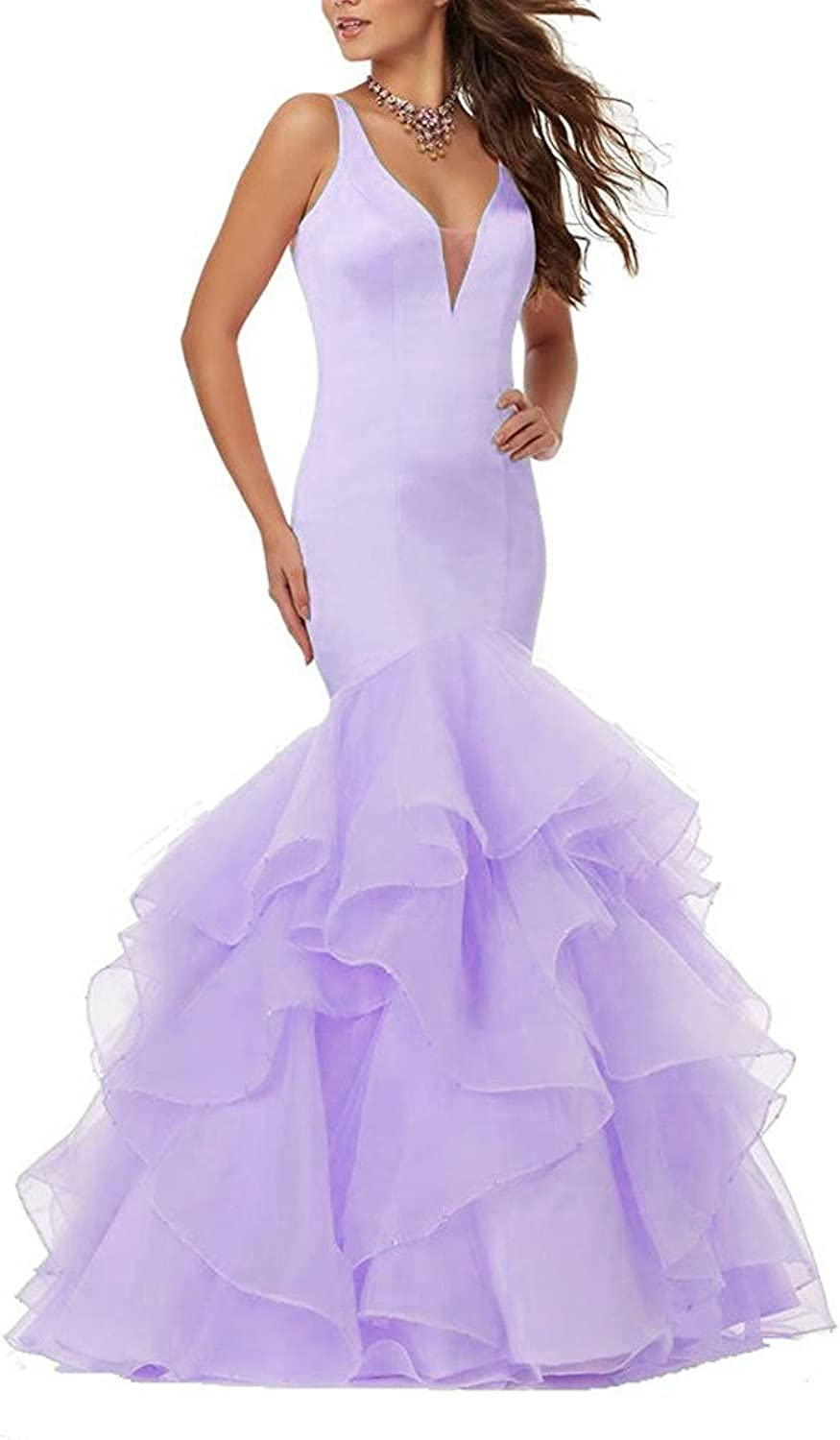 Ellenhouse Women's VNeck Ruffles Mermaid Prom Evening Wedding Party Dress EL202