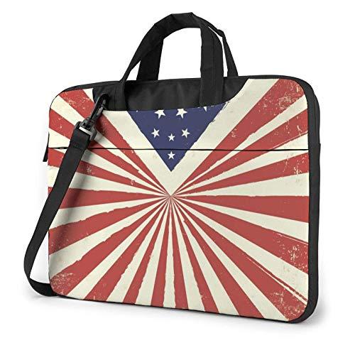 Vintage Star Flag Laptop Bag Compatible with 13-15.6in Laptop Carrying Shoulder Handbag Briefcase with Strap