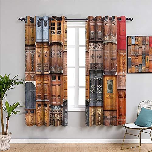 VICWOWONE Colección de decoración rústica Cortinas para dormitorio, Cortinas de 114,3 cm de largo para mantener un buen sueño W63 x L45 pulgadas Perú marfil gris