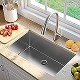 30-inch stainless steel kitchen sink,18 Gauge Single Bowl Undermount Sink with Strainer & Bottom...